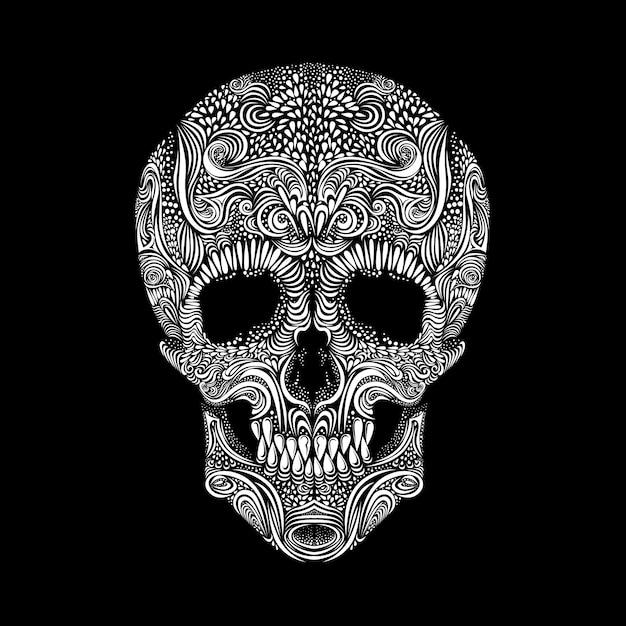Decorative skull on black background Premium Vector