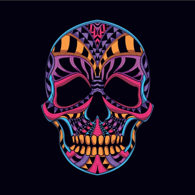 decorative skull from neon color vector premium download