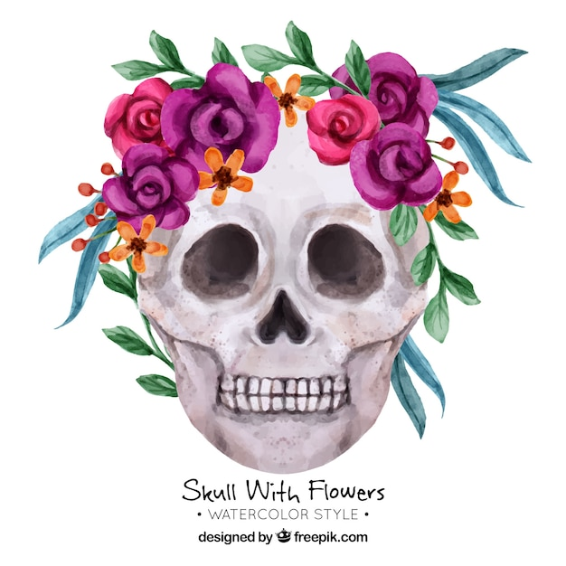 decorative skull with flowers in watercolor style vector