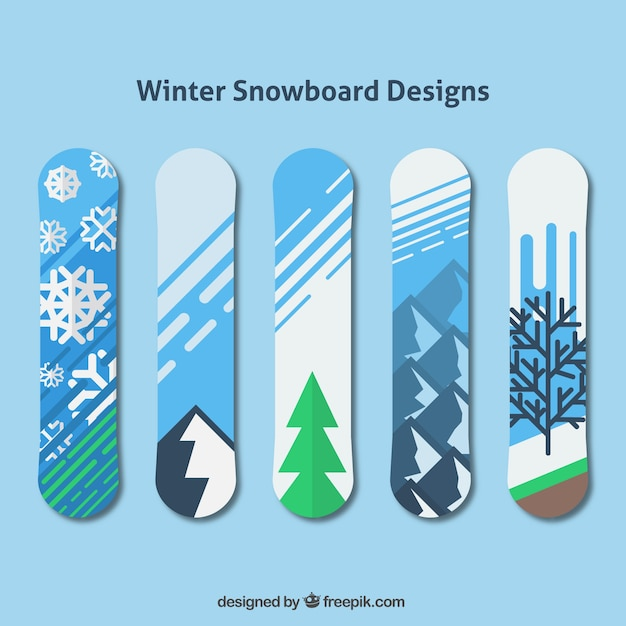 Decorative snowboards with winter\ designs