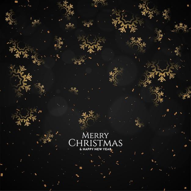 装飾的な雪片メリークリスマスフェスティバル黒背景ベクトル 無料ベクター