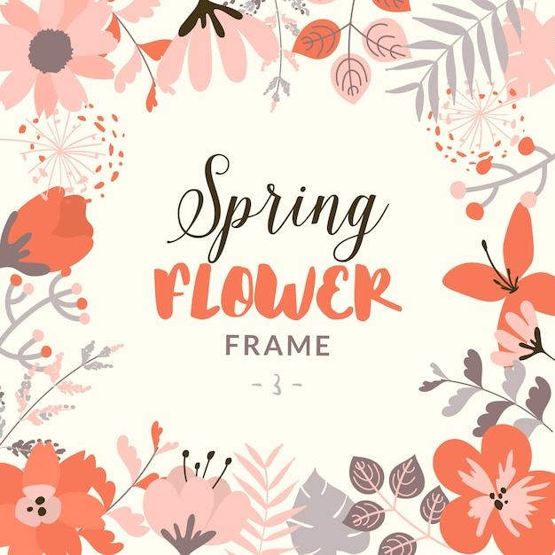 Decorative spring floral frame Free Vector