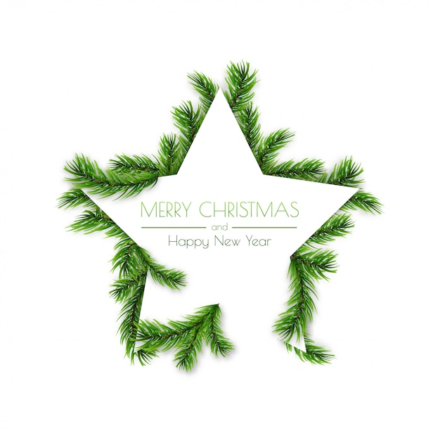 Decorative star with pine branches for christmas Premium Vector