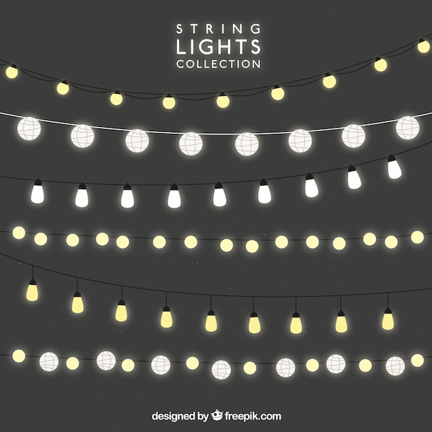 String Lights Vector : Decorative strings with bright bulbs Vector Free Download