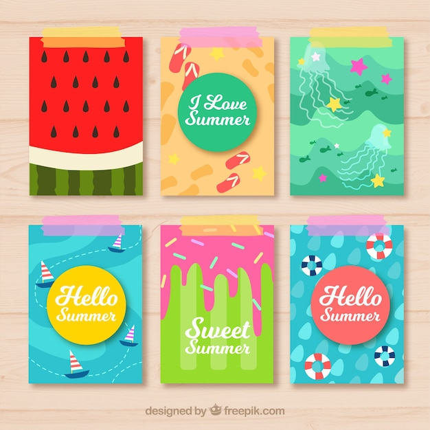 Decorative summer cards in flat design Free Vector