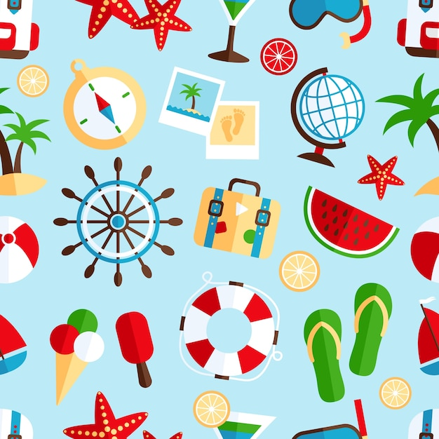 Decorative summer tropical vacation symbols of\ beach watermelon cocktail souvenir wrap paper seamless pattern\ abstract vector illustration