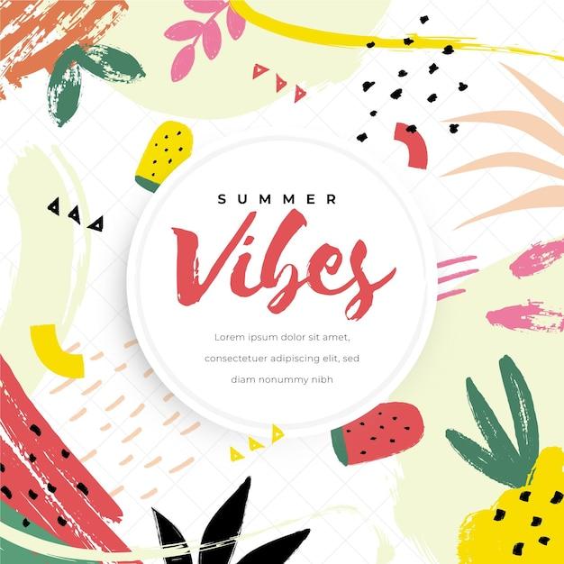 装飾的な夏の壁紙のコンセプト 無料ベクター