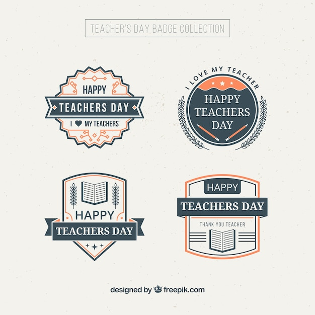 Decorative teacher's day badges in vintage style