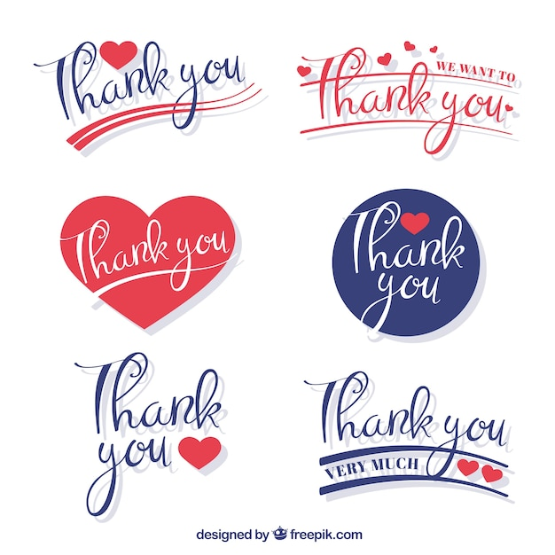 Decorative thank you sticker set free vector