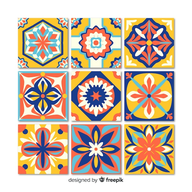 Decorative tile set Free Vector
