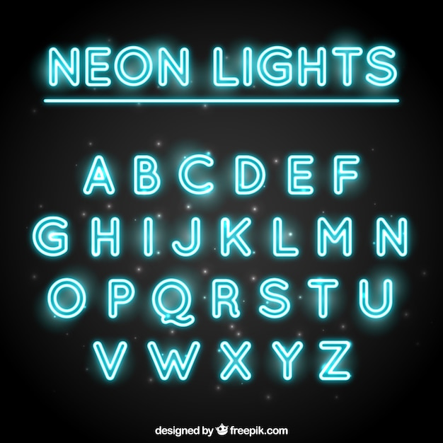 Decorative Typography Made With Fluorescent Tubes Vector