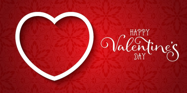 Decorative valentines day banner with elegant design Free Vector