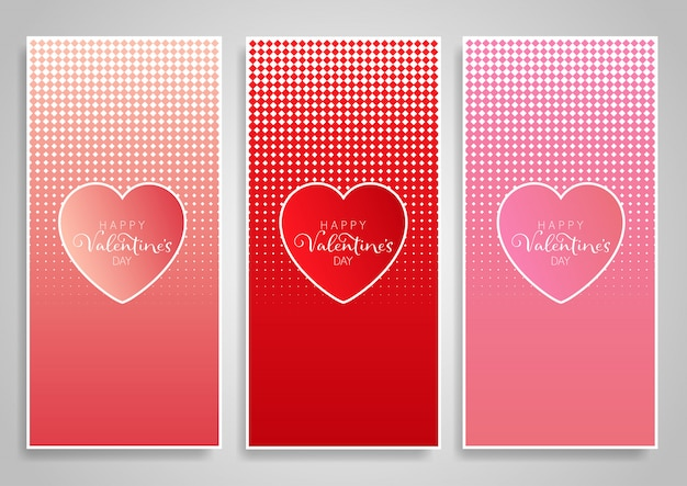 Decorative vertical banner designs for valentine's day Free Vector