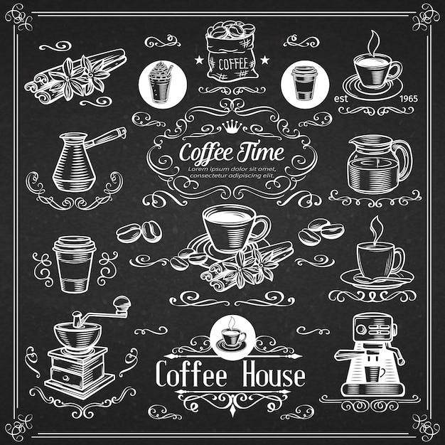Decorative vintage coffee icons Premium Vector