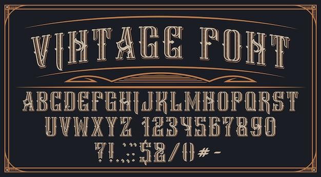 Декоративный старинный шрифт на темном фоне. идеально подходит для этикеток брендов, алкогольных напитков, логотипов, магазинов и многих других целей. Premium векторы