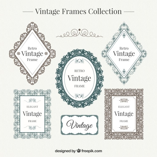Decorative vintage frames set Vector | Free Download