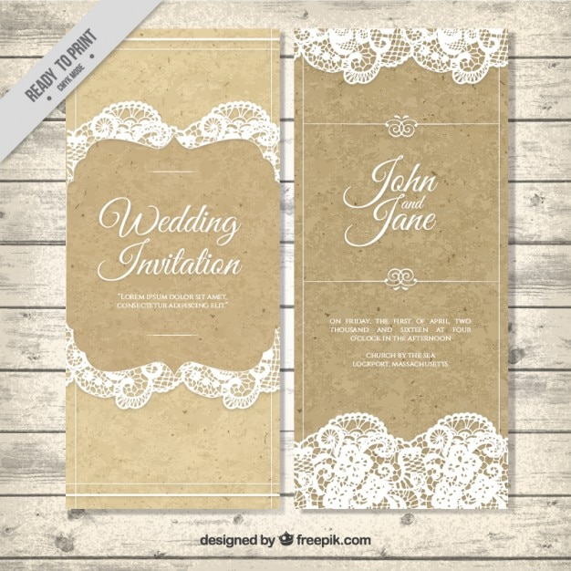 decorative vintage wedding invitation with lace vector With vintage wedding invitation with lace free vector