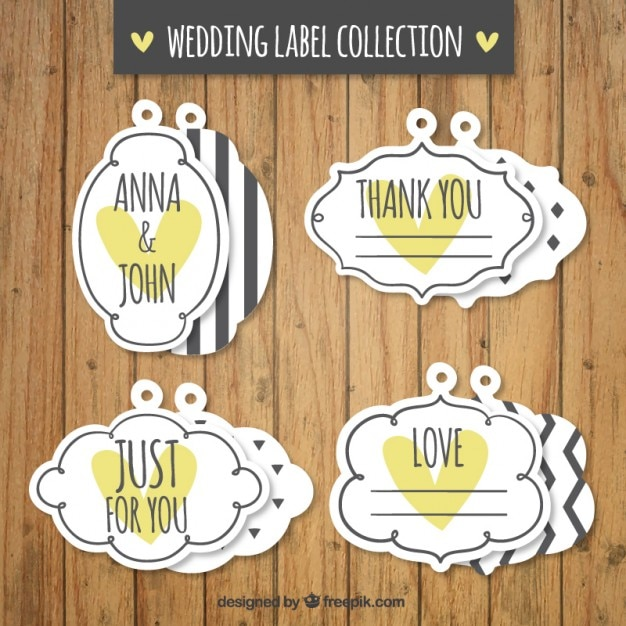 Decorative vintage wedding labels with yellow hearts