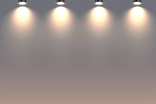 Decorative wall spotlights falling from above background Free Vector