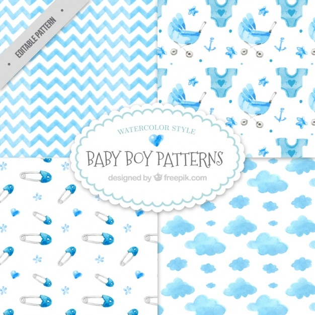 d1815670d Decorative watercolor baby shower patterns pack Vector