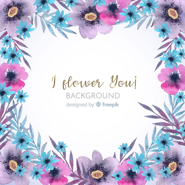 Decorative watercolor floral frame background Free Vector