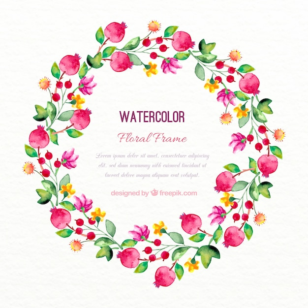 Decorative watercolor flowers wreath
