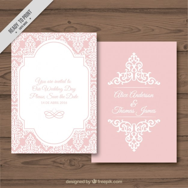 Decorative Wedding Card On A Pink Background Free Vector