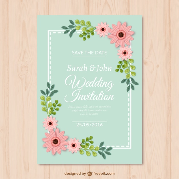 decorative wedding card with flowers vector free download