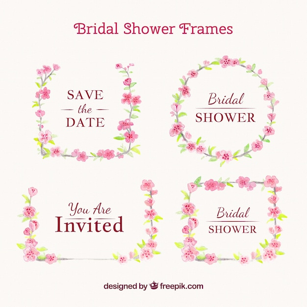 Decorative wedding frames with pink\ flowers