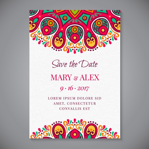 Great Decorative Wedding Invitation Of Abstract Forms Free Vector Regard To Invitation Forms