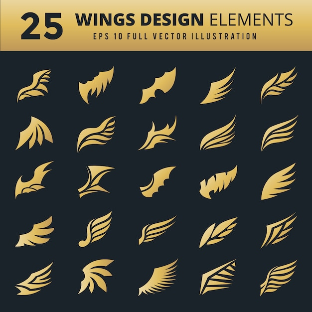 Decorative wings collection Free Vector
