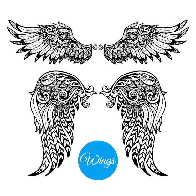 Decorative wings set Free Vector