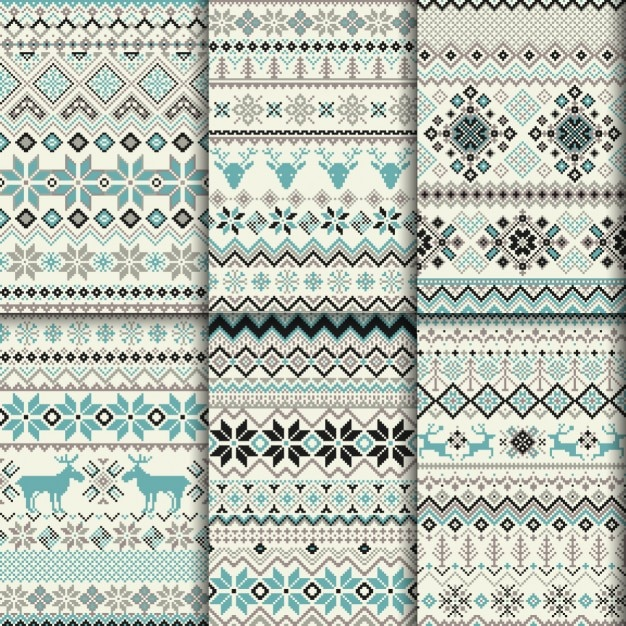 Decorative winter patterns Free Vector