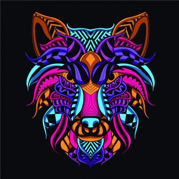 Decorative wolf face from neon color Premium Vector