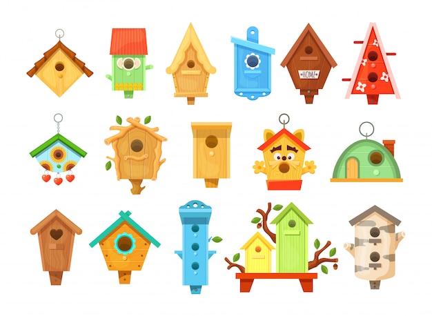 Decorative wooden spring bird houses. garden birdhouses for feeding birds. Premium Vector