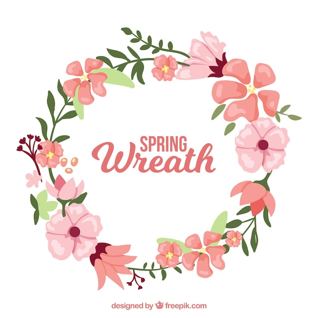 decorative wreath with pink flowers free vector - Decorative Flowers