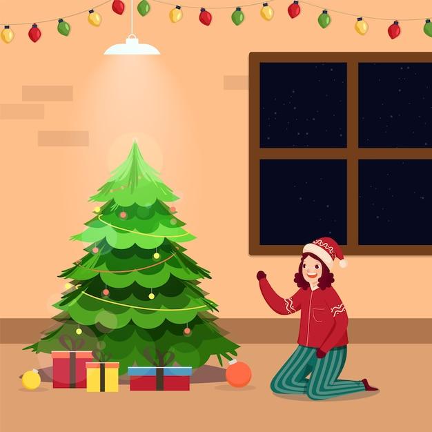 Декоративное рождественское дерево с веселой девушкой персонажем и подарочными коробками на фоне интерьера Premium векторы