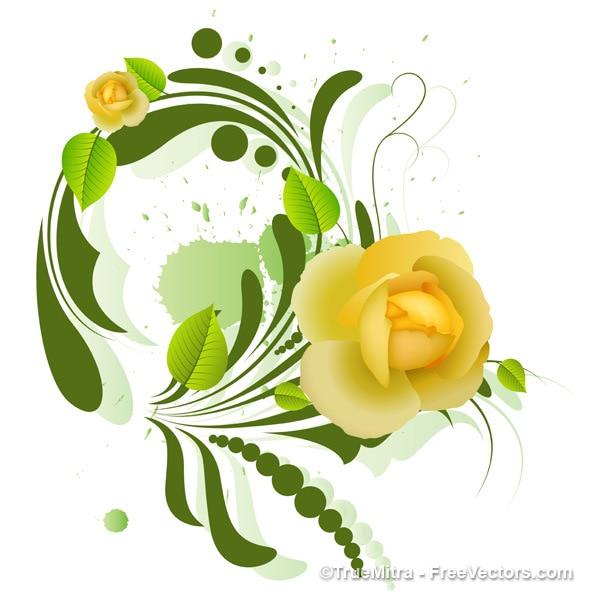 Decorative yellow flower design\ background
