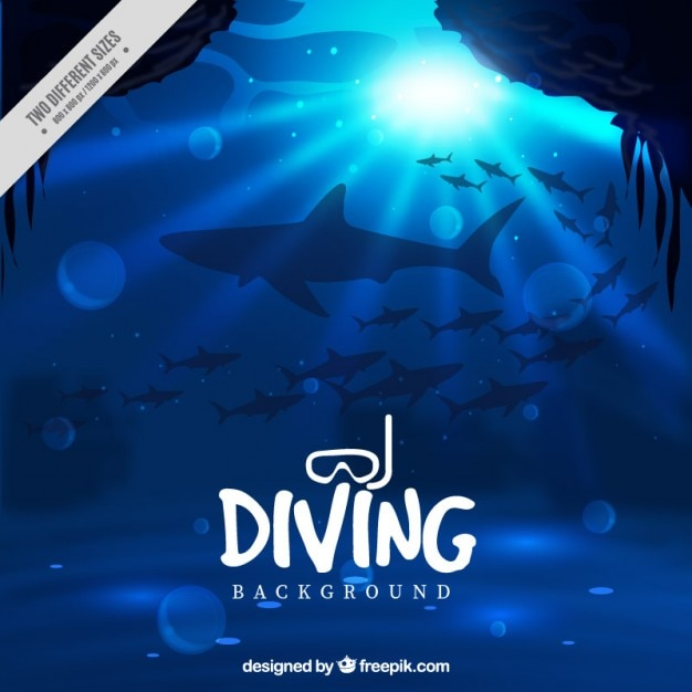 Deep marine with sharks background Free Vector