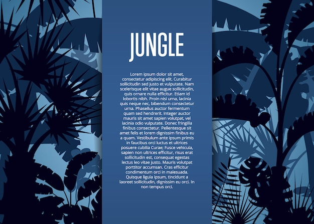 Deep tropical jungle template background Premium Vector
