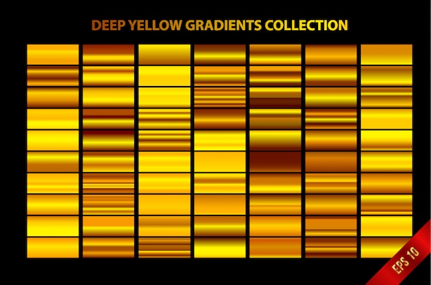 Deep yellow gradients collection Premium Vector