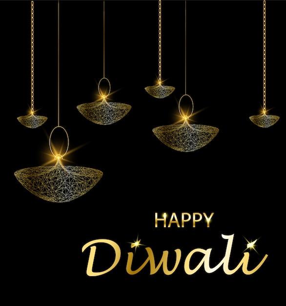 Deepavali light and fire festival. hanging lamps. Premium Vector