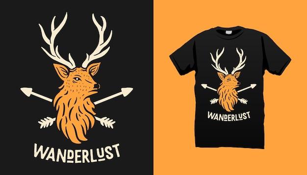 鹿と矢のtシャツのデザイン Premiumベクター