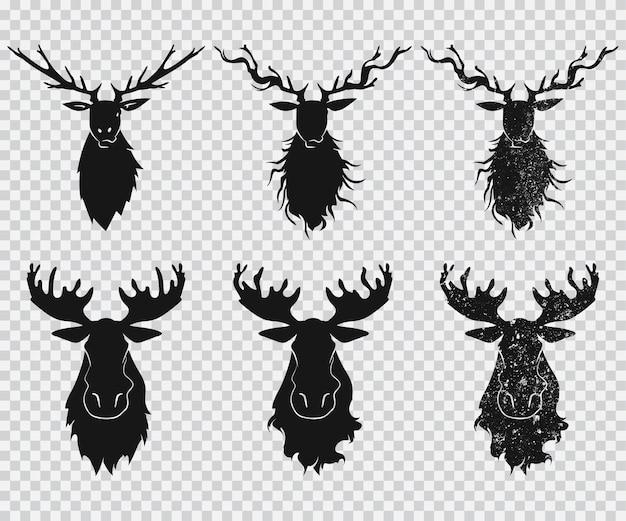 Голова оленя и лося с рогами черный силуэт набор иконок на прозрачном фоне. Premium векторы