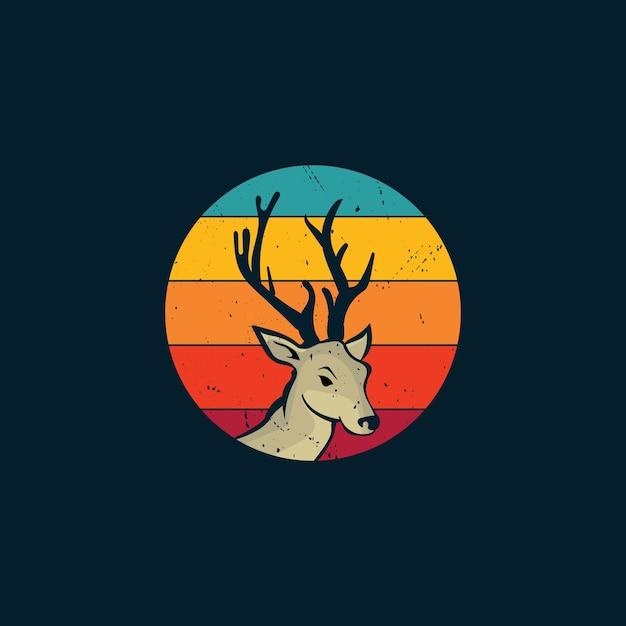 鹿と夕日のビンテージスタイルのロゴ Premiumベクター