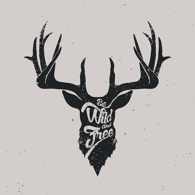 Deer be wild and free Premium Vector