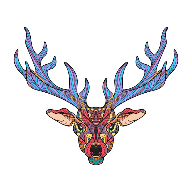 Deer bright colorful head with horns Premium Vector