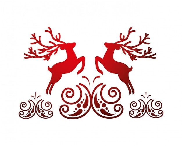 Deer card decoration Premium Vector