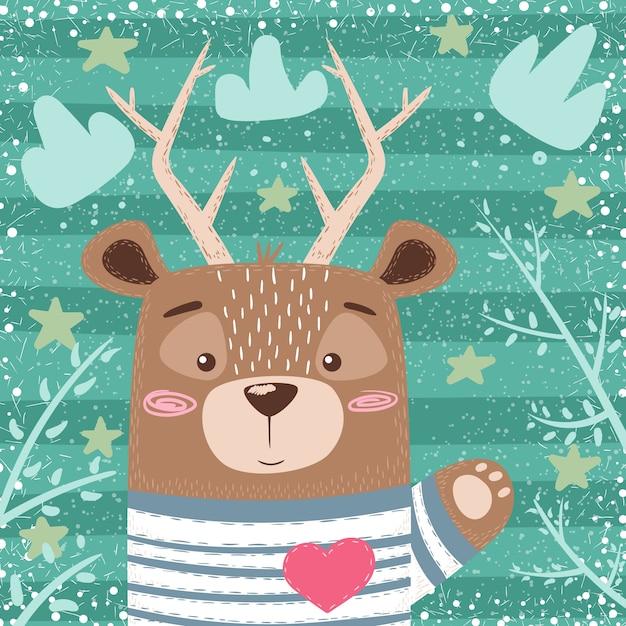 Deer cartoon illustration. Premium Vector