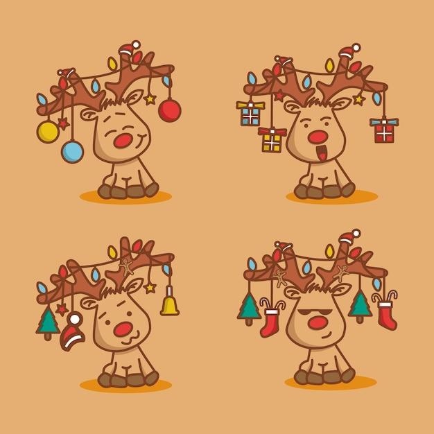 さまざまな顔の鹿のキャラクター Premiumベクター